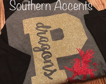 Custom School Spirit Shirt Raglan GLITTER
