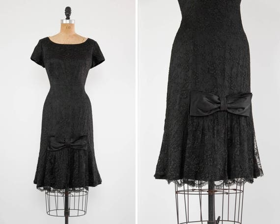 vintage 1960s cocktail dress | black lace 60s party dress | wiggle mermaid dress | 60s dress