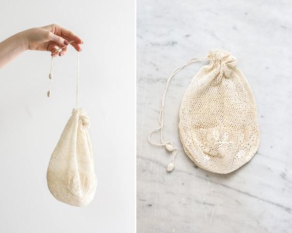 antique 1910s edwardian crochet purse | victorian drawstring bag | victorian reticule purse | edwardian coin purse