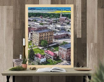 Printable wall art Portsmouth ohio city view drone photography