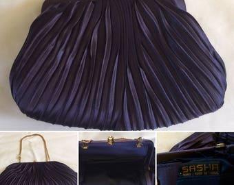 Vintage Sasha Purple Pleated Satin Clutch/Purse Handmade