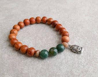 Buddha Charm Bracelet  - Moss Agate/Bayong Wood - Mala Bracelet - Yoga Bracelet - Wrist Mala - Meditation Bracelet - Item #394