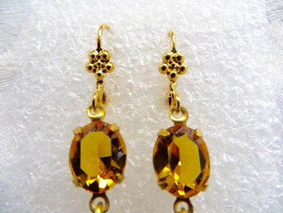 Czech Glass Earrings, Amber Dangle, Drop Earrings, Pierced Ears