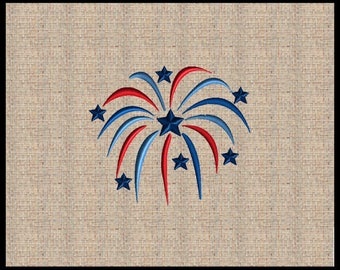 Fireworks Embroidery Design 4th of July Embroidery Design Star Embroidery Design Firework Burst Embroidery Design 4x4 5x5 6x6 7x7 8x8