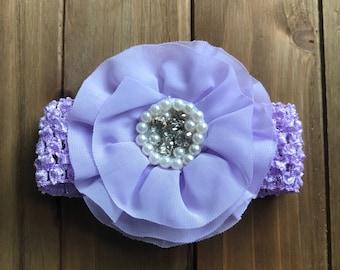 Purple Crochet Headband with Purple Bling Flower