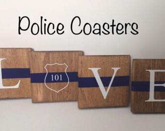 Personalized Coasters/Police Coasters/Wood Coasters/Police Gifts/Law Enforcement/Wall Tiles