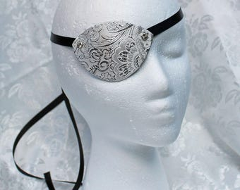 White Eye Patch, White and Silver Paisley Brocade Over Leather Pirate Eye Patch Pirate Costume Accessory