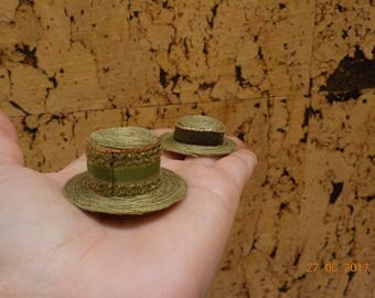 Miniature Hat green and gold 1/12 scale
