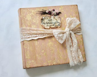 Blush pink woodland wedding photo album with gold gilding, large traditional vintage style scrapbook photo album, made to order 12x12 inches