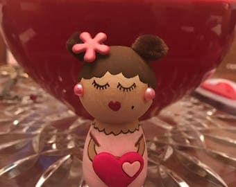 Kawaii Wooden Kokeshi Little Ms.  Bea Valentine