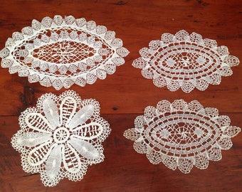 Set of Four Antique Vintage Bobbin Lace Doilies