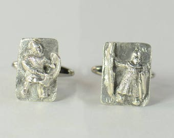 Sterling silver Templar and Viking Warriors Cufflinks.Artisan unique pieces.Stainless steel leg.Mens Gift