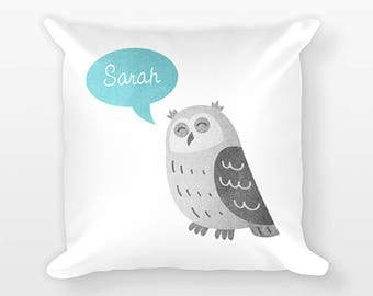 Personalized Pillow, Owl Pillow, Custom Name Pillow, Birthday Gift for Friend Gift, Kids Room Decor, Animal Pillow, Decorative Throw Pillow