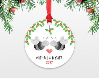 Personalized Christmas Ornaments, Honey Bee Couple Wedding Christmas Ornament, Engagement Ornament, Engaged Ornament Christmas Decoration
