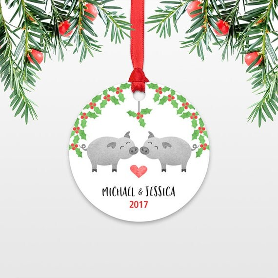 Pig Personalized Christmas Ornaments Pig Couple Engagement Christmas Ornament Engaged Ornament Married Wedding Ornament Christmas Decoration