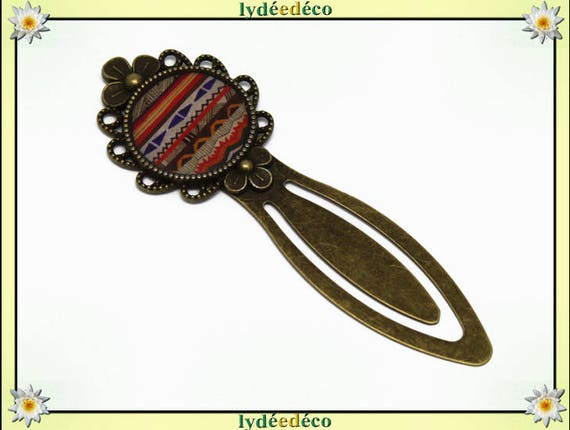 Bookmarks retro blue white brown orange Africa resin and brass bronze
