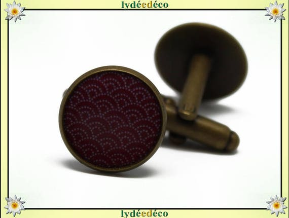 2 retro suit cuff links resin waves of the sea: seigaiha Japan red burgundy white brass bronze 14mm