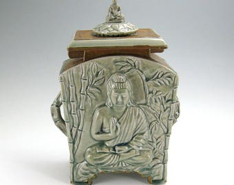 Buddha Stoneware Cremation Funerary Memorial Urn (#2)- 200 cubic inch
