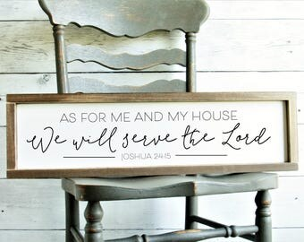 As For Me and My House We Will Serve the Lord Sign | 7.5 x 25.5 Inches | Joshua 24 : 15 | Christian Home Decor | Bible Verse Wood Sign