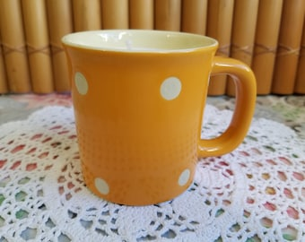 Orange Polka Dot Tea Mug Candle