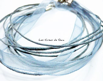 1 x thread and Grey Ribbon Choker