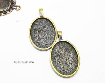 1 x medium oval cabochon, metal bronze with bail
