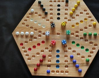 6 Player Aggravation Game Made of Solid Maple