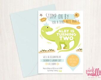 Dinosaur theme children's birthday party invitation