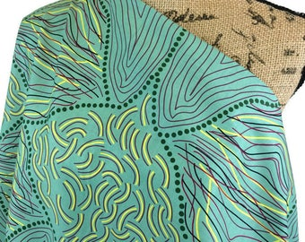 Aboriginal Fabric--Australian Aboriginal Print Fabric--Aboriginal Art--Quilt Fabric--Koko's String Green--Australian Fabric by the HALF YARD