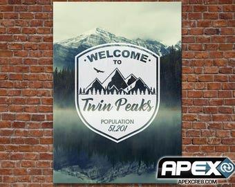 Welcome to Twin Peaks - Beautiful Mountains, Town Sign Canvas - Stunning Canvas Print! - Sizes small toLarge!