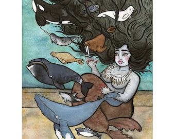 Sedna - Babe  Art -Mythology Art - Whale art -  Watercolor - 8x10