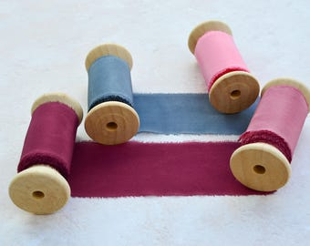 Silk Ribbon Hand Dyed, Silk Ribbon On Spool, Hand Dyed Silk Ribbon, Wedding Silk Ribbon, 2 Inch Silk Ribbon, Wine Silk Ribbon, Silk Ribbon