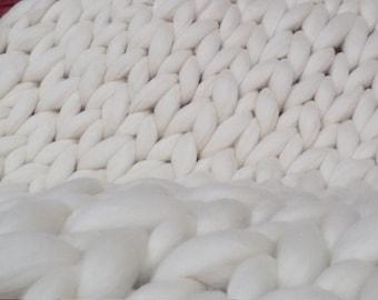 "2 TWIN BLANKETS -Super Chunky Knit Merino Wool 40"" x 63"" Throw Blanket Giant Knit, Bulky Knit Blanket, Arm Knit Cozy"