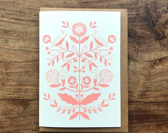 Folk flowers screen printed greeting card pink