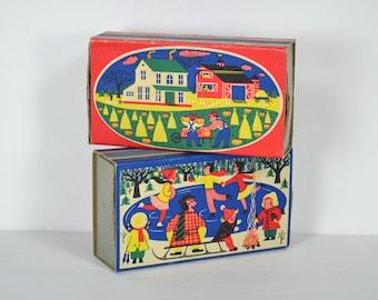 "Vintage Ohio Blue Tip Match Box/es, ""Harvest Time""   ""Winter Fun"" 1955 Match Box Art, Wadsworth Ohio, Made in USA, MCM Colorful Folk Art"