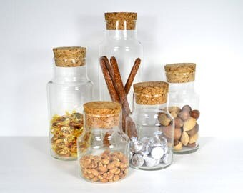Group of 5 Glass Jars w Cork Stoppers, Five Visible Storage Containers, Vintage Clear Glass Pantry, Studio & Office Storage