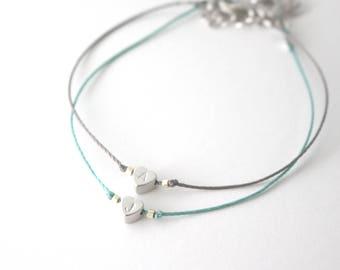 Initial heart bracelet, Initial bracelet, little heart bracelet, gift,