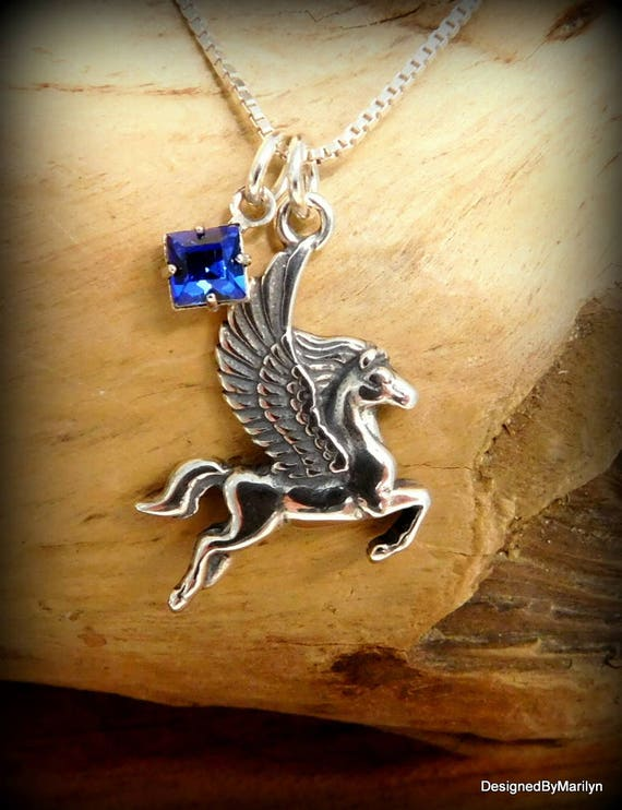 Sterling silver Pegasus necklace, mythical jewelry, personalized jewelry, birthstone necklace