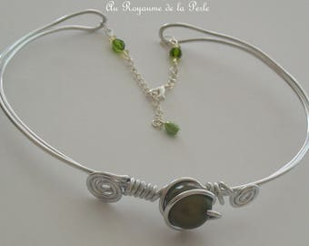 Green Aluminum necklace silver wedding