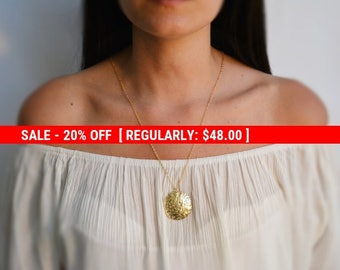 SALE 20% OFF Gold necklace, long necklace, long necklace with an ethnic style pendant disc, everyday necklace- 10023