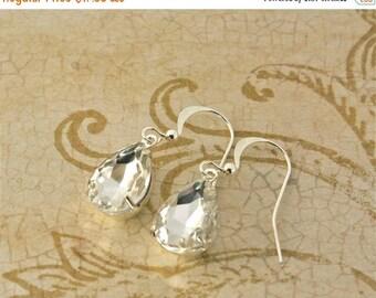 25% OFF SALE Diamond Rhinestone Earrings, Vintage Rhinestone Earrings, Bridesmaids Jewelry,Wedding Jewelry