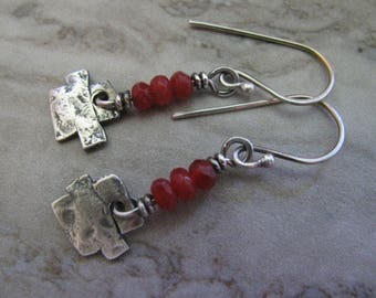 Red Candy Jade and Sterling Silver Handmade/Hand Forged Dangle Earrings- ToniRaeCreations