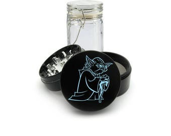 Star Wars character Yoda UV print on the Grinder FREE Glass included! 4 Piece Herb Aluminum Black cnc Grinder 0286