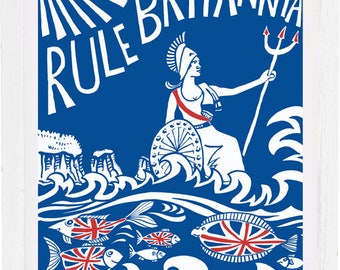 Rule Britannia art print, signed by the artist Kate Cooke, mounted