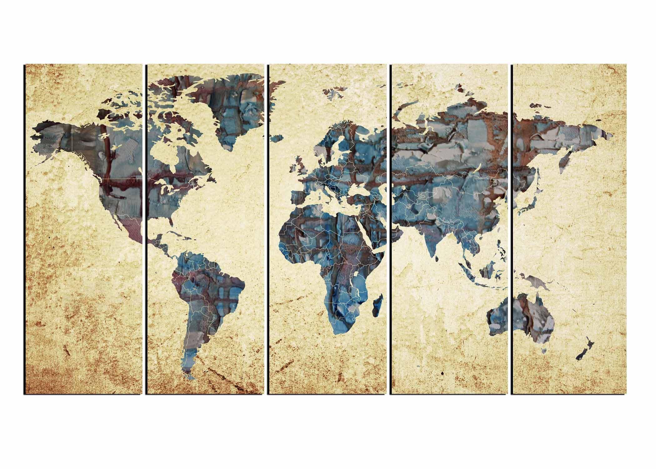 Large World MapWorld Map Abstract Map Wall Art World Map - Large world map painting