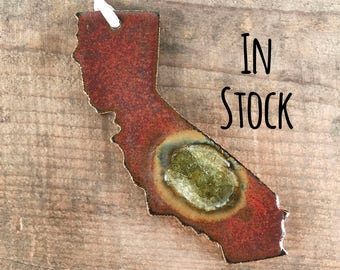 CALIFORNIA GEODE CRACKLE Ornament: State Ornament, Personalized Ornament, Christmas Ornament, Geode Ornament, Ceramic State Ornament