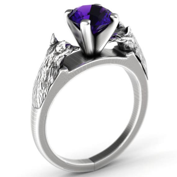 RESERVED FOR Jesse Sterling Silver Fox Engagement Ring with Amethyst, Fox Jewelry, Custom Fox Ring, Silver Fox Ring, Fox Solitaire Ring