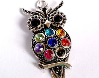 An OWL, multicolored rhinestone and silver plated, about 4cm pendant