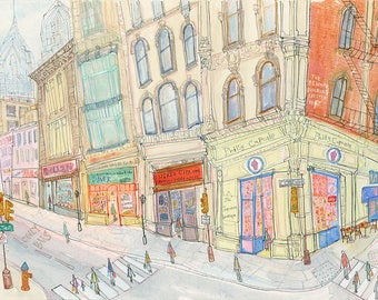 Philadelphia Art, Philly Wall Art, Cupcake Shop Drawing, Watercolor Painting, Philly Cafe Shop, Chestnut St, USA City Print, City Building
