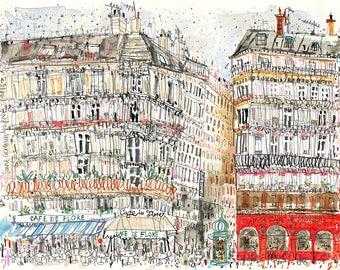 Parisian Buildings, Paris Cafe Art Print, CAFE De FLORE PARIS, Limited Edition Giclee print, Mixed media painting, St Germain De Pres Paris
